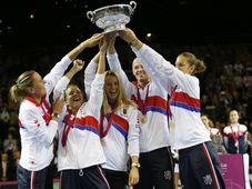 Lucie Hradecká, Barbora Strýcová, Petra Kvitová, Petr Pála, Karolína Plíšková, photo: CTK