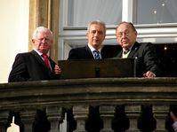 Hans-Dietrich Genscher (à droite) à Prague, vingt ans après l'épisode de la Prager Botschaft, photo: Christian Rühmkorf