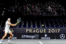 Rafael Nadal vPraze při tréninku před prvním ročníkem Laver Cupu, foto: ČTK