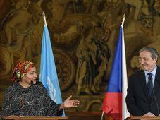 Amina Mohammed et Martin Stropnický, photo: ČTK