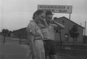 Sylva Šimsová's wedding photo, May 1950, photo: archive of Sylva Šimsová