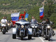 Vladimir Putin rides three wheeler, accompanied by the Night Wolves, photo: CTK