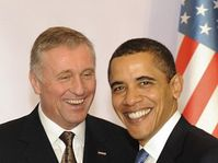 Mirek Topolánek et Barack Obama, photo: CTK