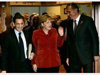 Nicolas Sarkozy, Angela Merkel, Mirek Topolánek, photo: CTK