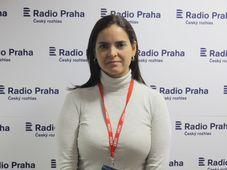 Tamara Sujú (en Radio Praga), foto: Miloš Turek