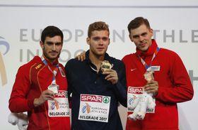 Nový evropský rekordman Kevin Mayer (uprostřed) aAdam Sebastian Helcelet (vpravo), foto: ČTK
