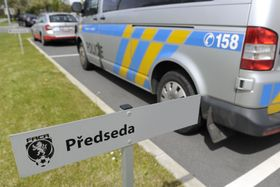 Police car in front of the Czech Football Association headquarters in Prague, photo: CTK