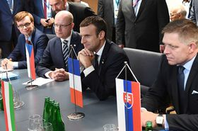 Slovakian Prime Minister Robert Fico, Emmanuel Macron, Bohuslav Sobotka (from right to left), photo: CTK