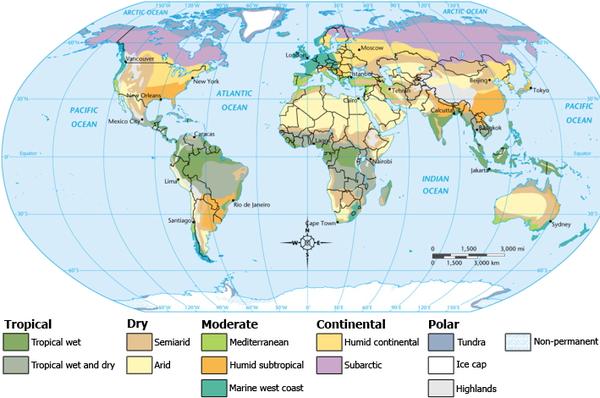 Klimazonen - podnebné pásy (Quelle: Waitak, CC BY-SA 3.0)