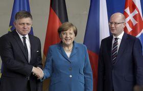 Robert Fico, Angela Merkel, Bohuslav Sobotka, photo: ČTK