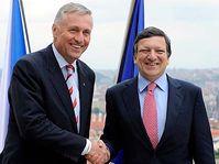 Mirek Topolánek et José Barroso, photo: CTK