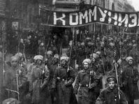 Armed soldiers carry a banner reading 'Communism', Moscow, Russia, October 1917, photo: CTK