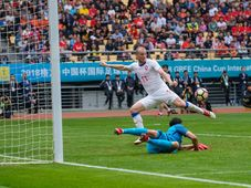 China - Czech Republic. Michael Krmenčík scores, photo: CTK