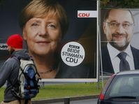 Election posters of Angela Merkel and her challenger Martin Schulz from the Social Democrats, photo: CTK