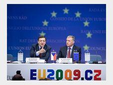 José Manuel Barroso, Mirek Topolánek (right), photo: CTK