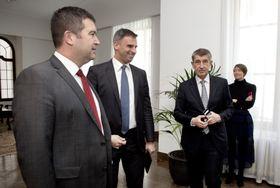 Jan Hamáček, Jiří Zimola, Andrej Babiš, photo: ČTK