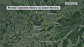 Mapa doložených římských táborů na Moravě, zdroj: ČT24, Google Earth
