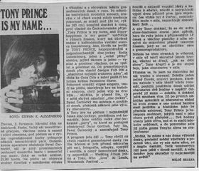 Report on Tony Prince in the Czechoslovak press, photo: archive of Tony Prince