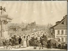 Vincent Morstadt: La place Venceslas (1835), photo: Archives de Musée municipal de Prague