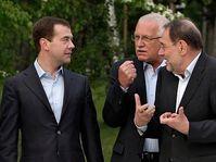 Dmitri Medvedev, Václav Klaus et Javier Solana, photo: CTK