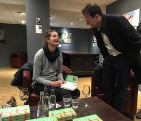 Petra Hůlová meets a reader at the launch of Three Plastic Rooms, photo: Ian Willoughby