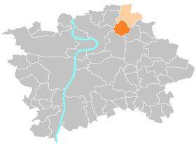 Letňany auf dem Stadtplan Prags (Quelle: Public Domain)