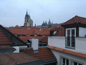 St. Nicholas Church and - in the distance - St. Vitus Cathedral can be seen from the balcony, photo: Ian Willoughby