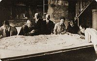 Professor Jiří Janda with architect Mašek above the plan of the ZOO
