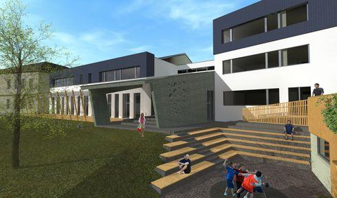 Visualisierung vom Umbau des Schulgebäudes in Kněžmost (Quelle: ABateliér)