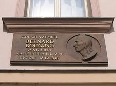 A plaque to the memory of Bernard Bolzano in Prague