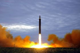 This Aug. 29, 2017 photo by the North Korean government shows what was said to be the test launch of a Hwasong-12 intermediate range missile in Pyongyang, North Korea, photo: CTK