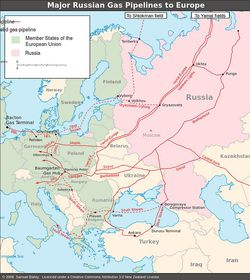 Major Russian gas pipelines to Europe, photo: Samuel Bailey, CC BY 3.0