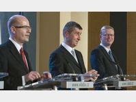 Bohuslav Sobotka, Andrej Babiš, Pavel Bělobrádek, photo: CTK