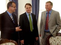 Miroslav Kalousek, Martin Bursik et Mirek Topolanek, photo: CTK