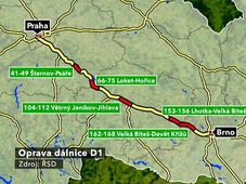 Esquema de la autopista D1, fuente: ČT24