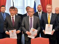 Andrej Babiš, Bohuslav Sobotka, Pavel Bělobrádek, photo: CTK