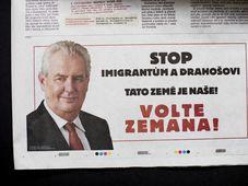 L'encadré publicitaire 'Stop aux immigrés et à Drahoš. Ce pays est le nôtre ! Votez Zeman !', photo: ČTK
