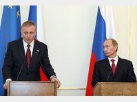 Mirek Topolánek et Vladimir Poutine, photo: CTK