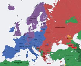 Religionen in Europa (Quelle: San Jose, CC BY-SA 3.0, blau - Katholisches Christentum, violett - Evangelisches Christentum)