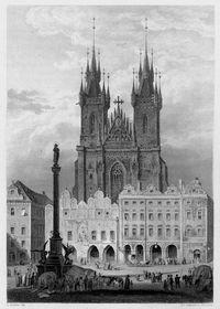 Марианская колонна на Староместской площади в 1841 году, Фото: Public Domain
