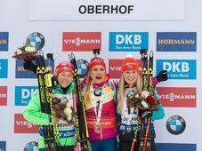 Laura Dahlmeier, Gabriela Koukalová, Eva Puskarčíková, photo: CTK