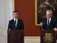 Andrej Babiš a Miloš Zeman, foto: ČTK