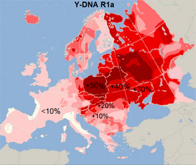 Haplogruppe R1a in Europa (Quelle: Crates, CC BY-SA 4.0)