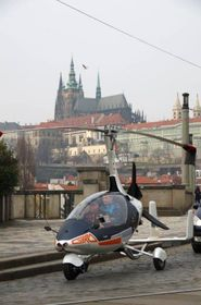 Pavel Březina drives autogyro in Prague, photo: archive of Nirvana Systems