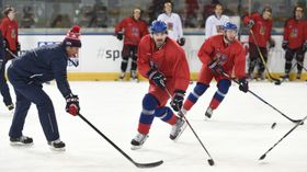 Czech ice hockey team training session, photo: CTK