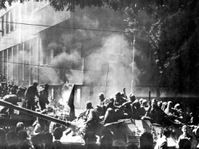 Tanks burning outside the Czechoslovak Radio building, August 1968