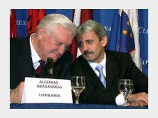 Litevský premiér Algirdas Brazauskas (vlevo) a slovenský premiér Mikuláš Dzurinda, foto: ČTK