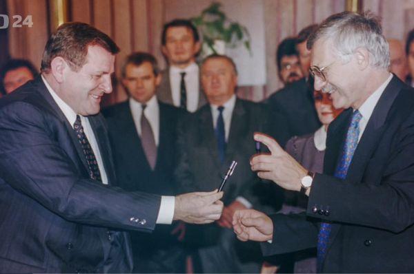 Vladimír Mečiar et Václav Klaus, photo: ČT24