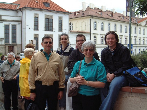 Geraldine Stosick – My family in Prague on a community band tour of Europe in 2001. The Czech night life was the favorite stop on our tour for my children.