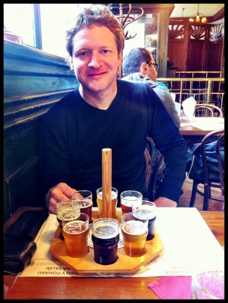 Steve Jack – A magnificent 8-beer 'tasting wheel' at Pivovarsky Dum in Prague: nettle / honey / coffee beer, anyone? Well, they were ALL delicious!